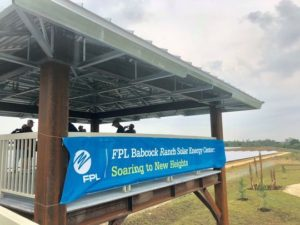 FPL welcome sign on wooden gazebo at babcock ranch